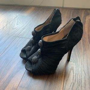 Black, open-toed heels (Betsy Johnson, Size 8)